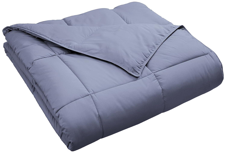 Superior Classic All-Season Down Alternative Comforter with Baffle Box Construction, Twin, Silver