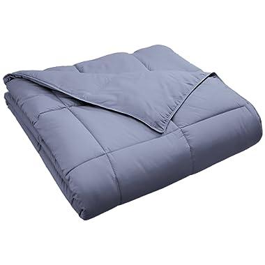 Superior Classic All-Season Down Alternative Comforter with Baffle Box Construction, Warm Hypoallergenic Filling - Full/Queen Comforter, Silver
