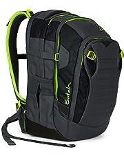 Satch Match Phantom, ergonomischer Schulrucksack, erweiterbar auf 35 Liter, extra Fronttasche, Grau/Grün