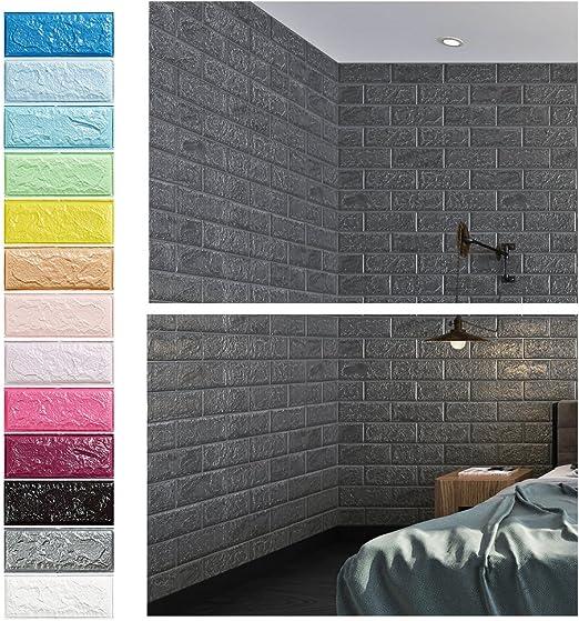 Grau 3D Ziegel Tapete, Wandpaneele Stereo Wandtattoo Papier Abnehmbare  selbstklebend Tapete für Schlafzimmer Wohnzimmer moderne Hintergrund  TV-Decor ...
