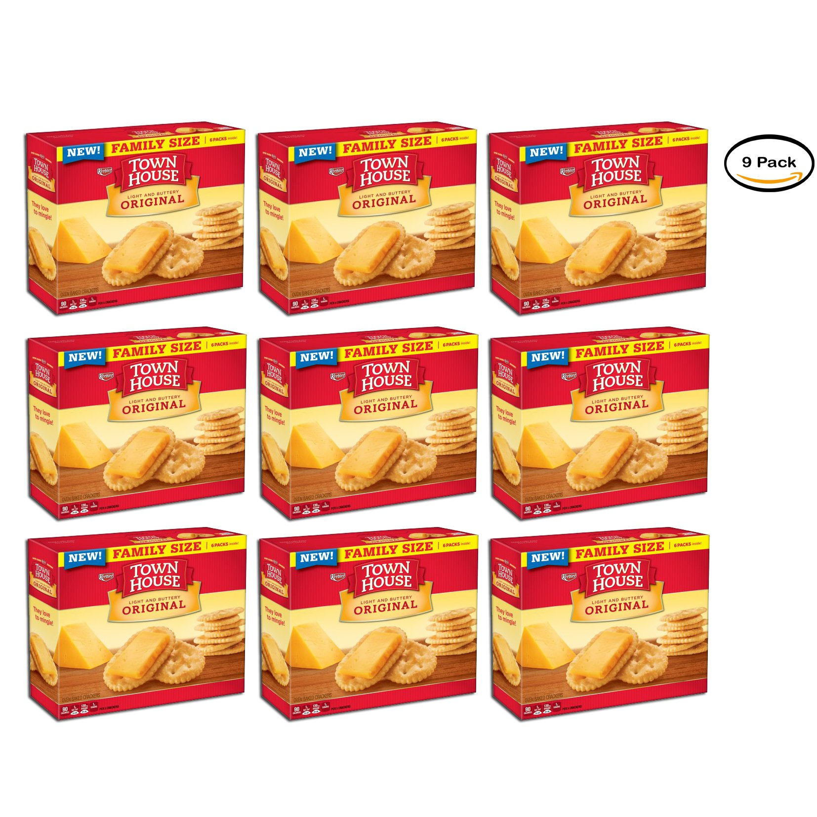 PACK OF 9 - Keebler Town House Original Light and Buttery Oven Baked Crackers 20.7 oz. Box