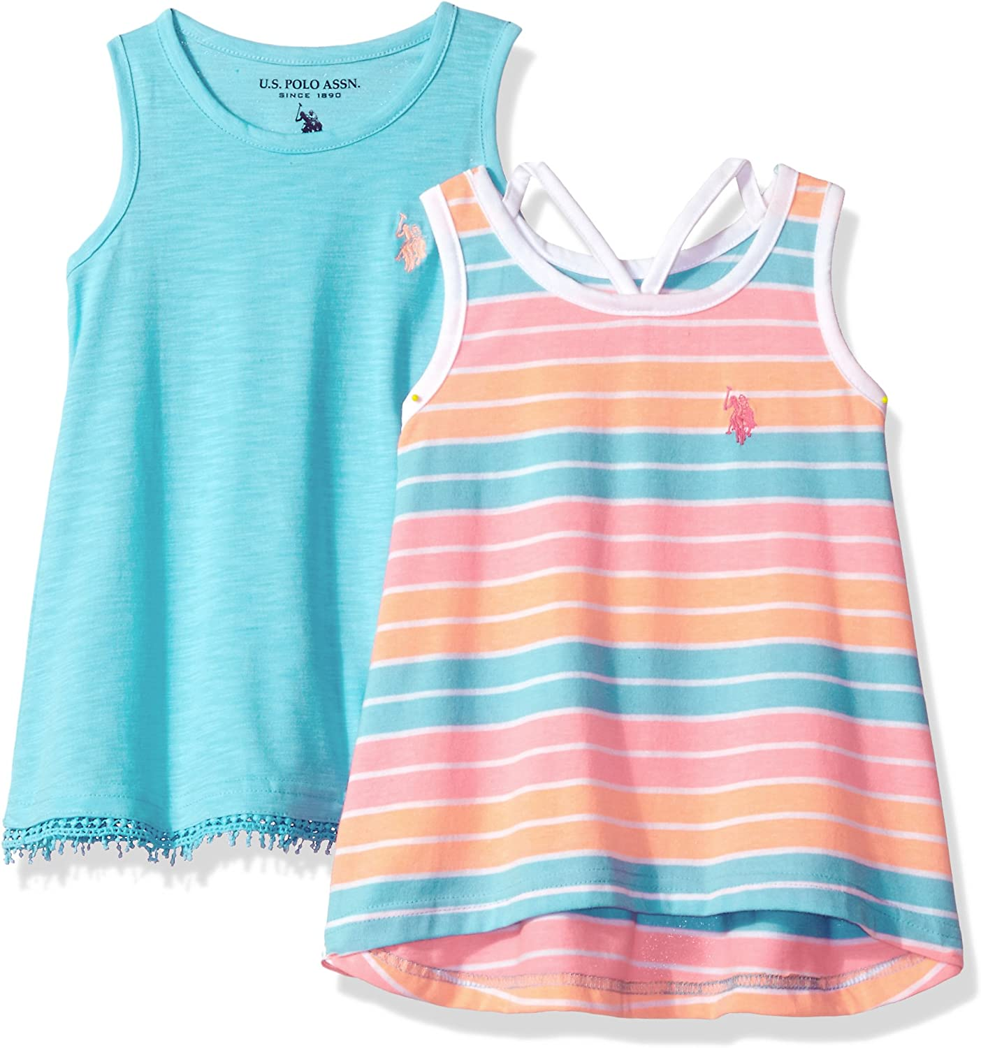 Girls Little 2 Pack Tank Tops Polo Assn U.S 1 Stripe and 1 Solid