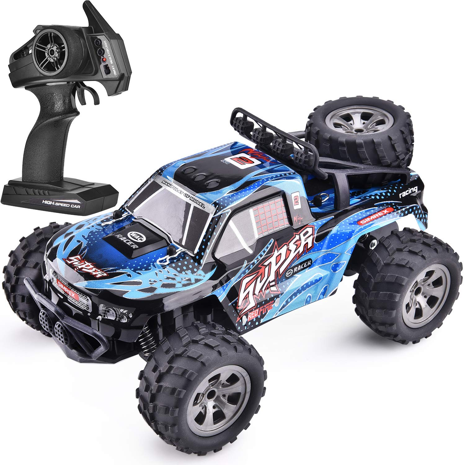 SIMREX A240 RC Cars High Speed 20KM/H Scale RTR Remote Control Brushed Monster Truck Off Road Car Big Foot RC 2WD Electric Power Buggy W/2.4G Challenger Blue
