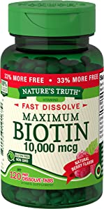 Biotin 10000mcg | 120 Fast Dissolve Tablets | Maximum Strength | Hair Skin and Nails Supplement | Natural Berry Flavor | Vegetarian, Non-GMO, Gluten Free | by Nature's Truth