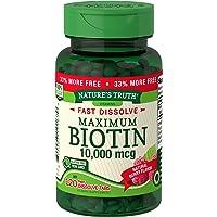 Biotin 10000mcg | 120 Fast Dissolve Tablets | Maximum Strength | Hair Skin and Nails...