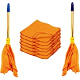 Vimal Golden Handle Duster (Dust Mop - 2 Pcs.) and High Density Dust Cleaning Flannel Cloths (A Pack of 6) Combo Set