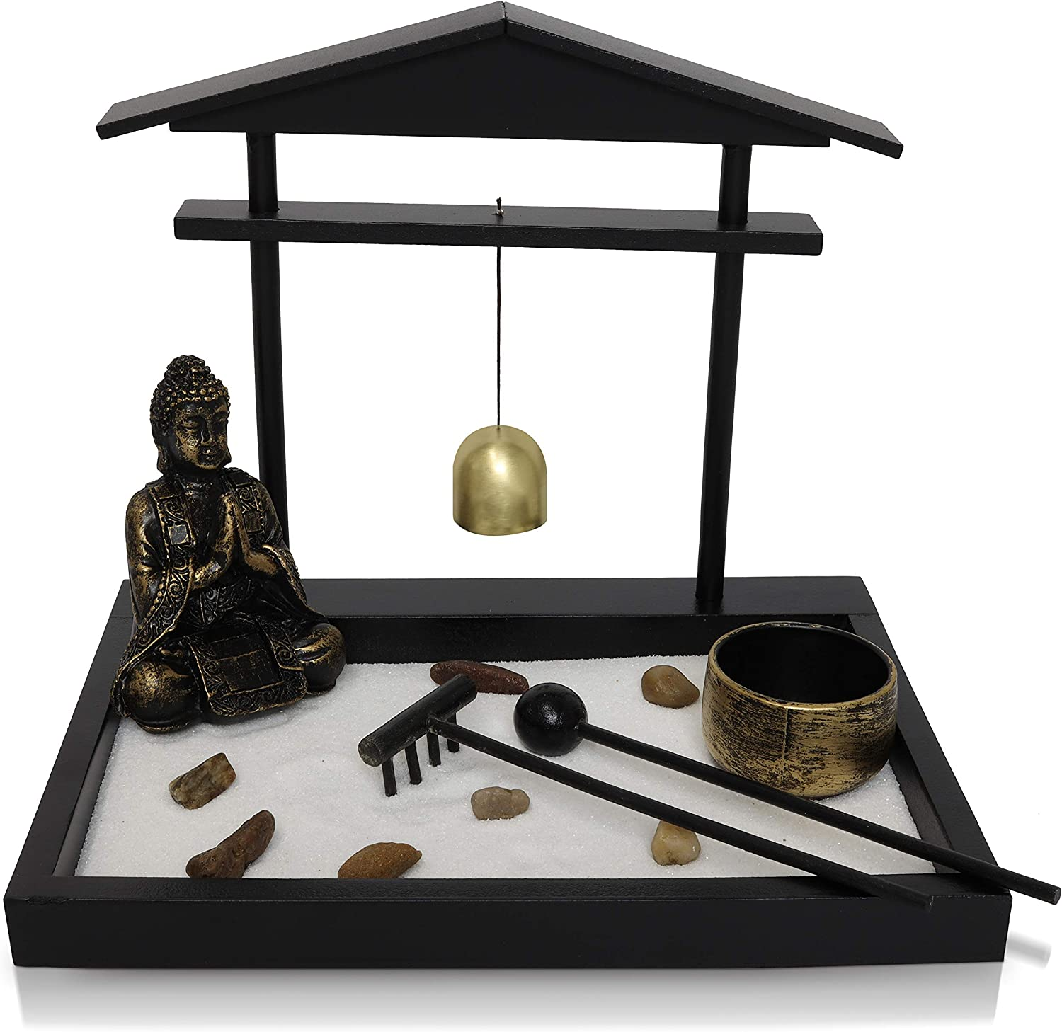 Basic Fundamentals Japanese Zen Garden Kit Home Decor - Buddha Statue with Bell Office Desk Accessories - Zen Garden Sand Corner Desk Office Decor - 8.75