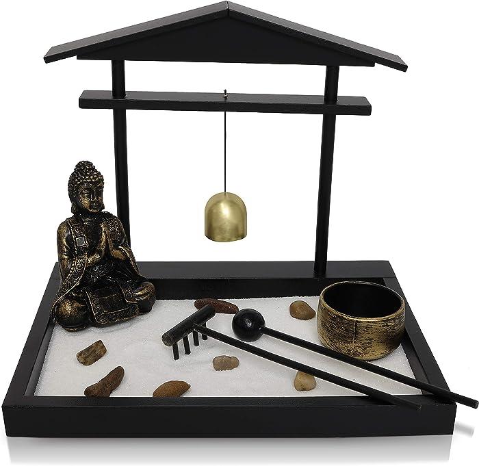 Basic Fundamentals Japanese Zen Garden Kit Home Decor - Buddha Statue with Bell Office Desk Accessories - Zen Garden Sand Corner Desk Office Decor - 8.75