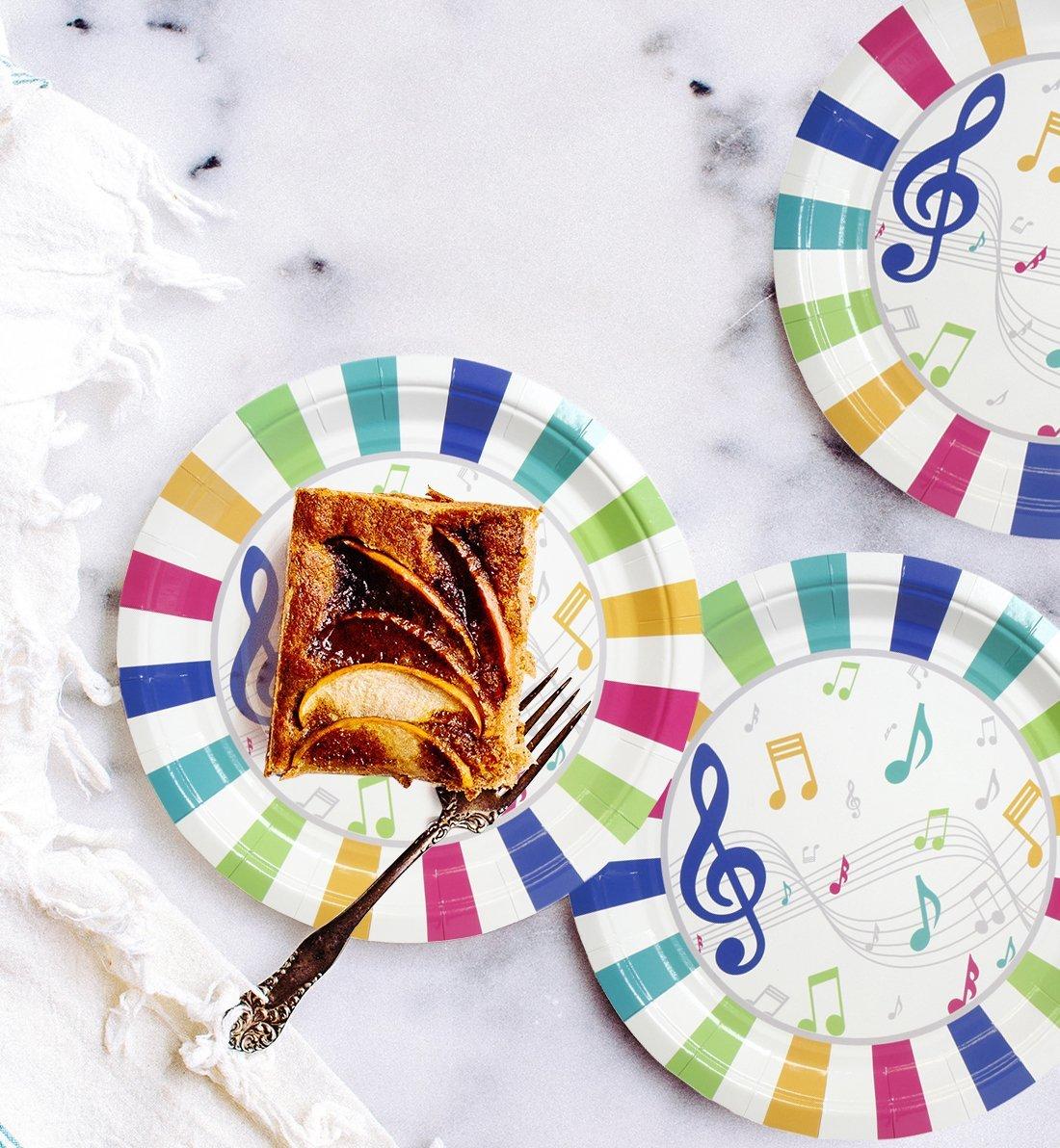 9 pulgadas de di/ámetro cena y postre almuerzo suministros de fiesta de m/úsica para aperitivos cumplea/ños de ni/ños 80 platos de papel Platos desechables