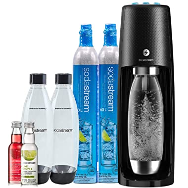 SodaStream Fizzi One Touch Sparkling Water Maker Bundle (Black) with CO2, BPA free Bottles, and 0 Calorie Fruit Drops Flavors