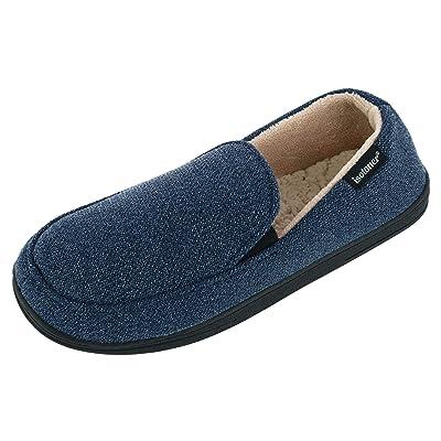ISOTONER Men's Heathered Knit Peyton Closed Back Slippers, Large, Indigo | Slippers