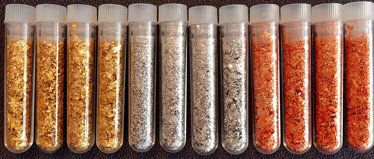 4 Gold 4 Silver 4 Copper Flake Vials.Large 3ml Lowest Price on Ebay
