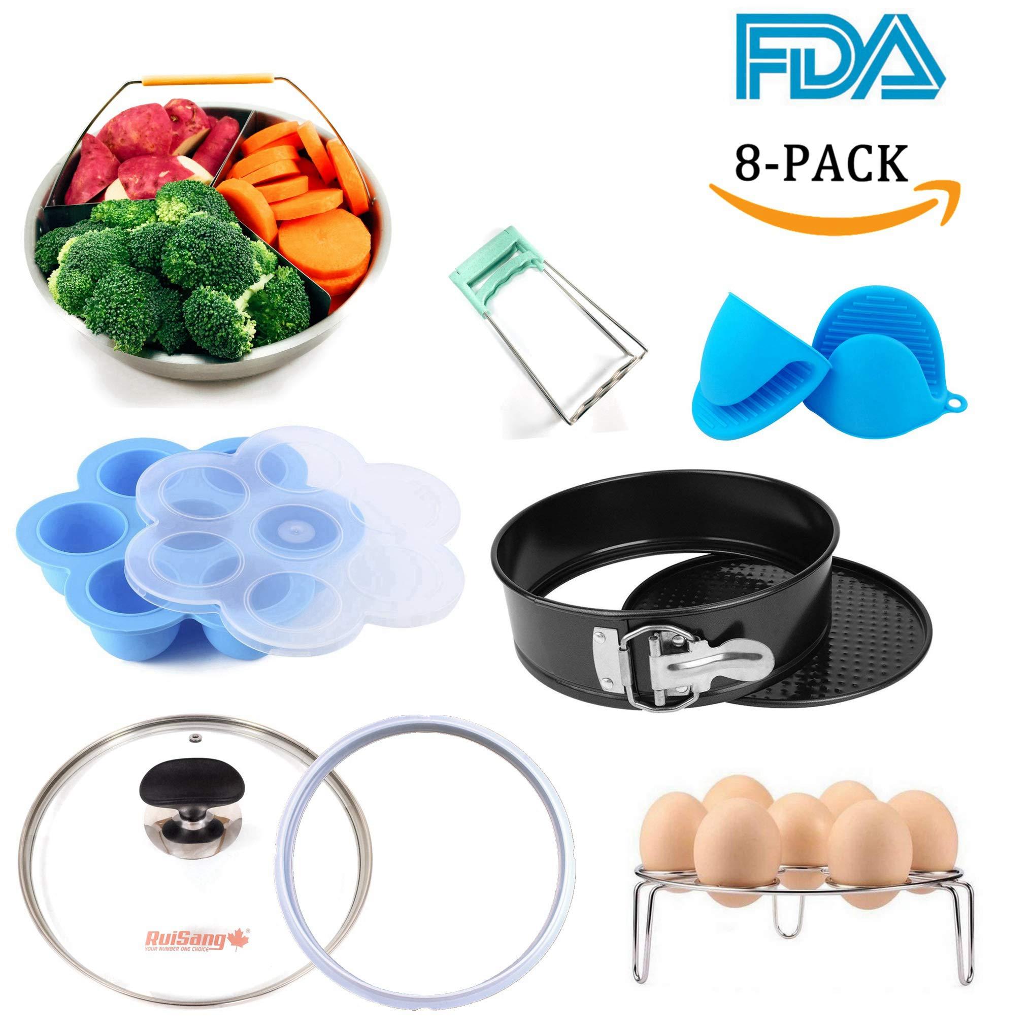 Instant Pot Accessories Set- 8 Pack Value Set- Fits 5 6 8 QT Pressure Cooker: Steamer Basket, Springform Pan, Tempered Glass Lid, Egg Rack, Bowl Clip, Silicone Egg Bites Mold, Oven Mitt & Sealing Ring