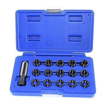 Reparar la rosca de bujía al repaso Kit Set M14 x 1.25 16PC: Amazon.es: Coche y moto