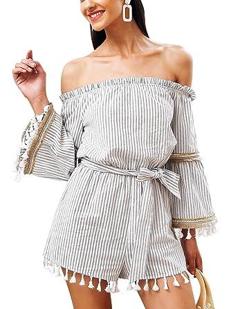 60d6caf353 Missy Chilli Women s Off Shoulder Strapless Long Sleeve Tassel Playsuit  Stripe Short Jumpsuit White 10