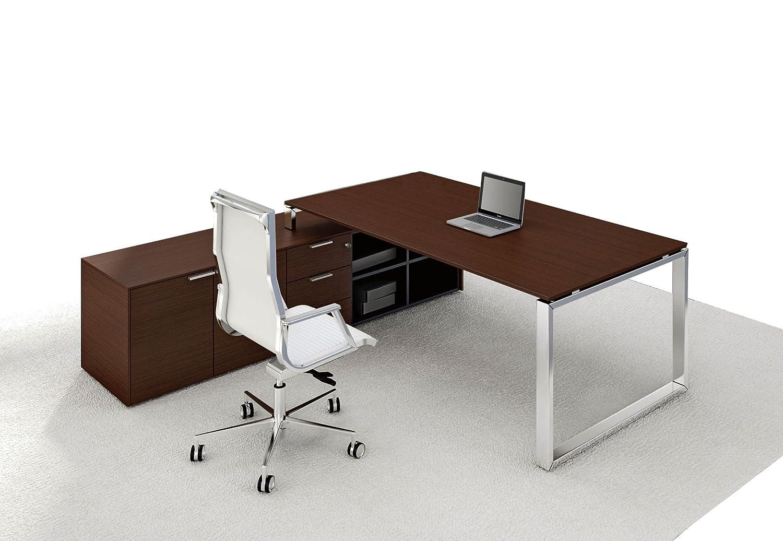 Schreibtisch mit Sideboard LOOPY, Echtholzfurnier, Chef Schreibtisch ...