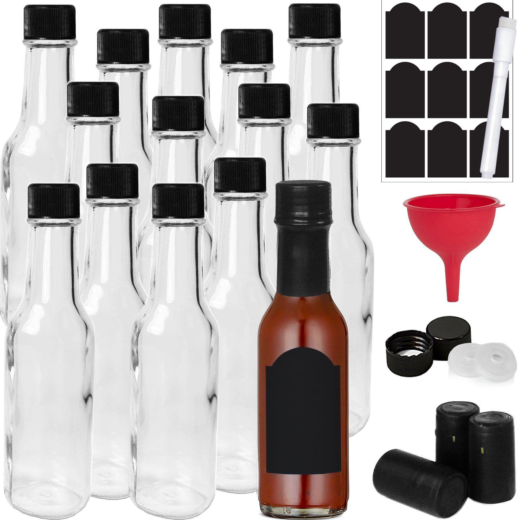 14-PACK Hot Sauce Bottles 5oz with Caps, Funnel for Kitchen, Chalk Labels & Marker, Shrink Capsules, Dripper Inserts. Mini Wine Bottle Hot Sauce Kit, 5 Oz Woozy Glass Bottle Dasher by Talented Kitchen
