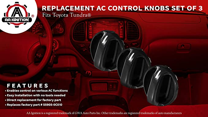 2006 2005 Air Conditioner Replacement Switch Renewed 559050C010 Set of 3 AC Climate Control Knob 2004 2003 2001 2002 Fits Toyota Tundra 2000 Replaces# 55905-0C010