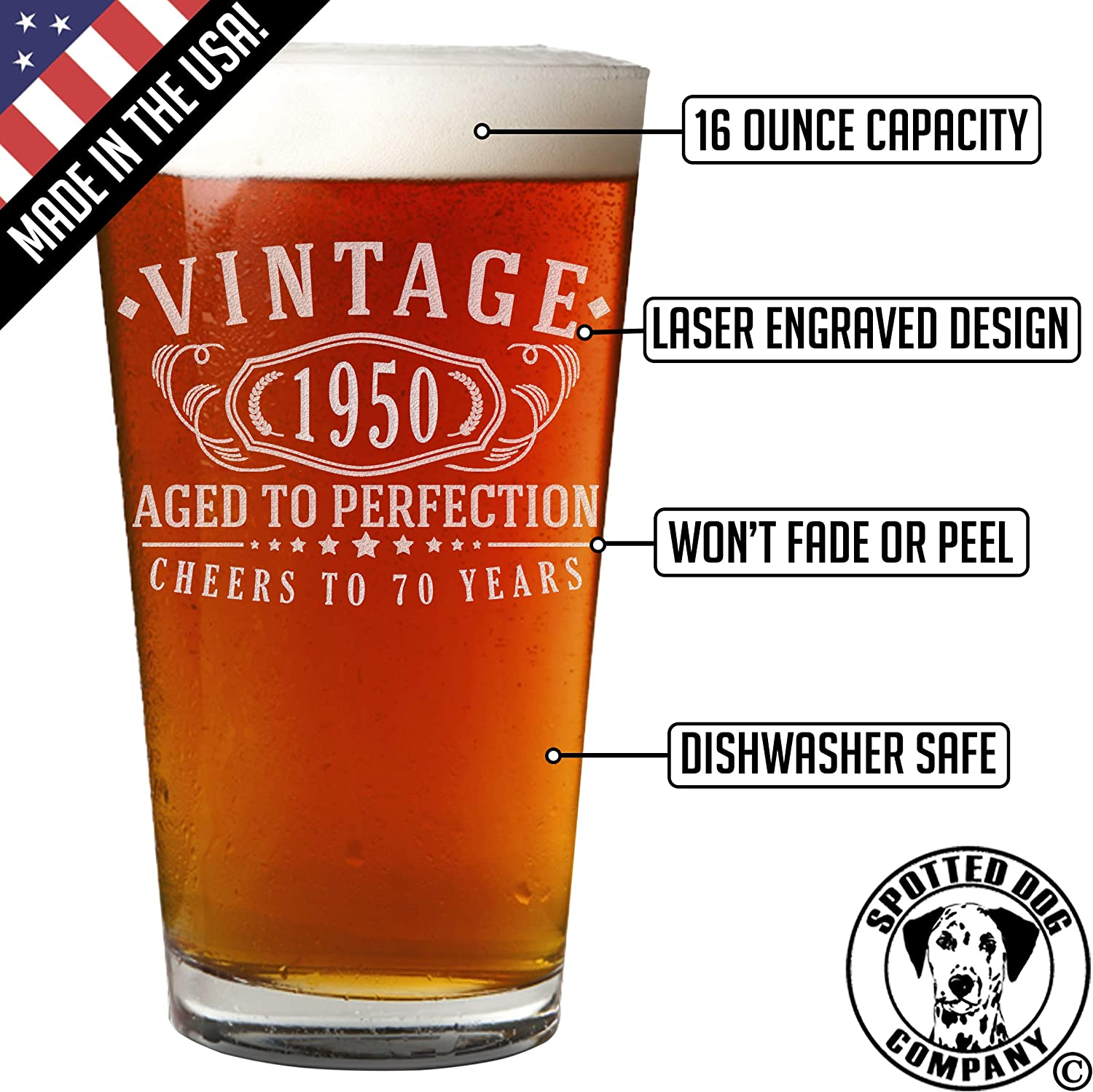 Vintage 1950 Etched 16oz Pint Beer Soda Glass 70th Birthday Aged to Perfection 70 Years Old Gifts