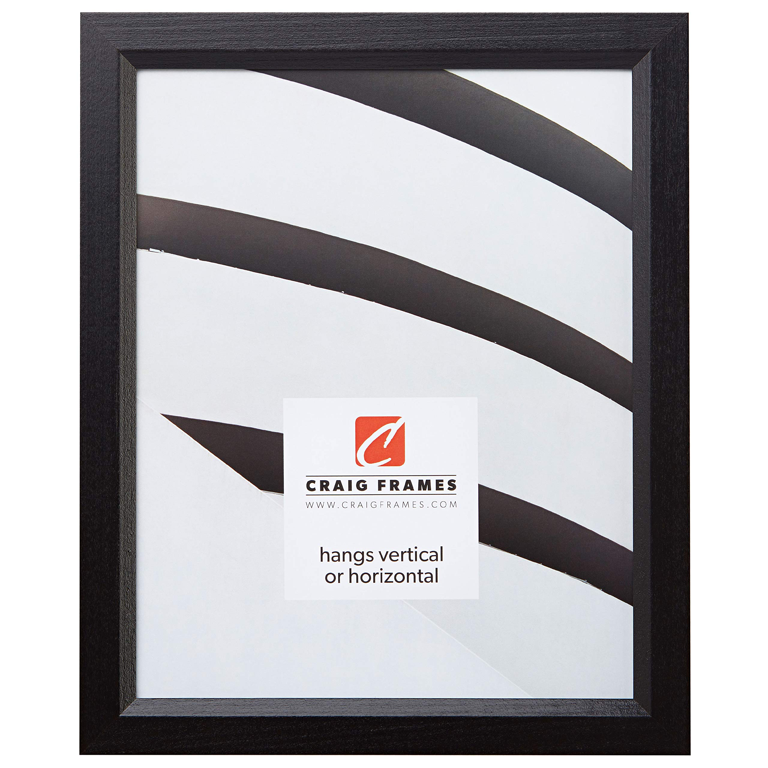 Craig Frames 7171610BK 8.5 by 11-Inch Picture/Poster Frame, Wood Grain Finish.825-Inch Wide, Solid Black