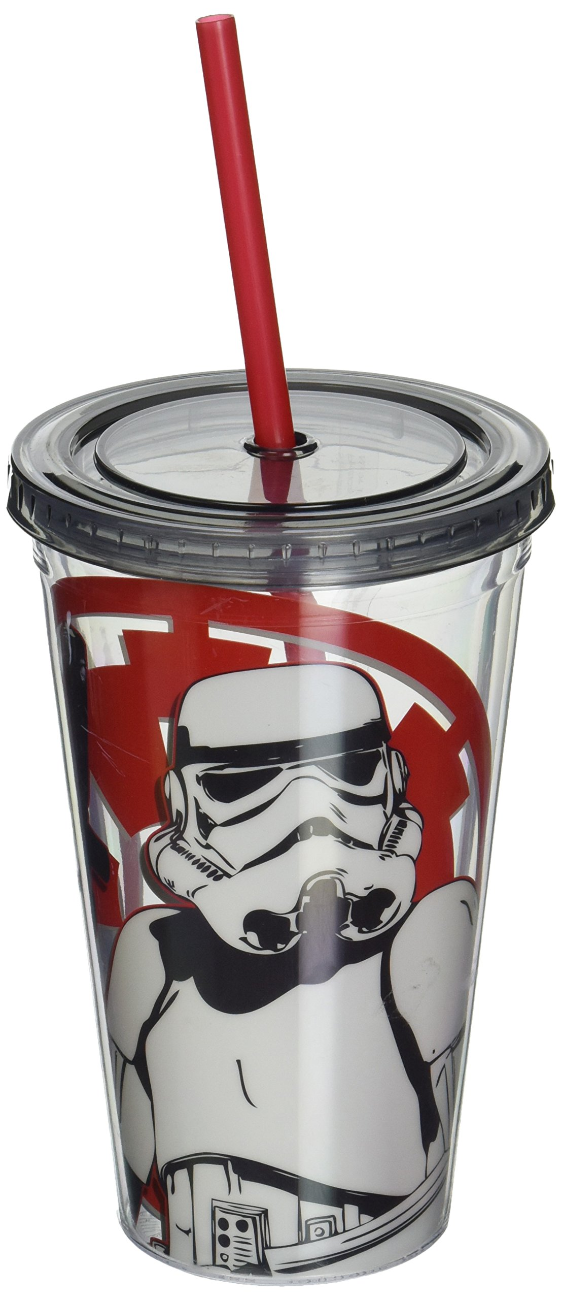 Silver Buffalo SW39087 Disney Star Wars Storm Trooper Plastic Cold Cup with Lid and Straw, 16-Ounces