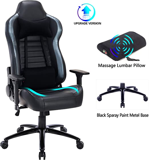 Blue Whale Massage Gaming Office Chair - Metal Base and Special Wave Support,High Back Reclining Racing Game Computer Desk Chair,Ergonomic Leather ...