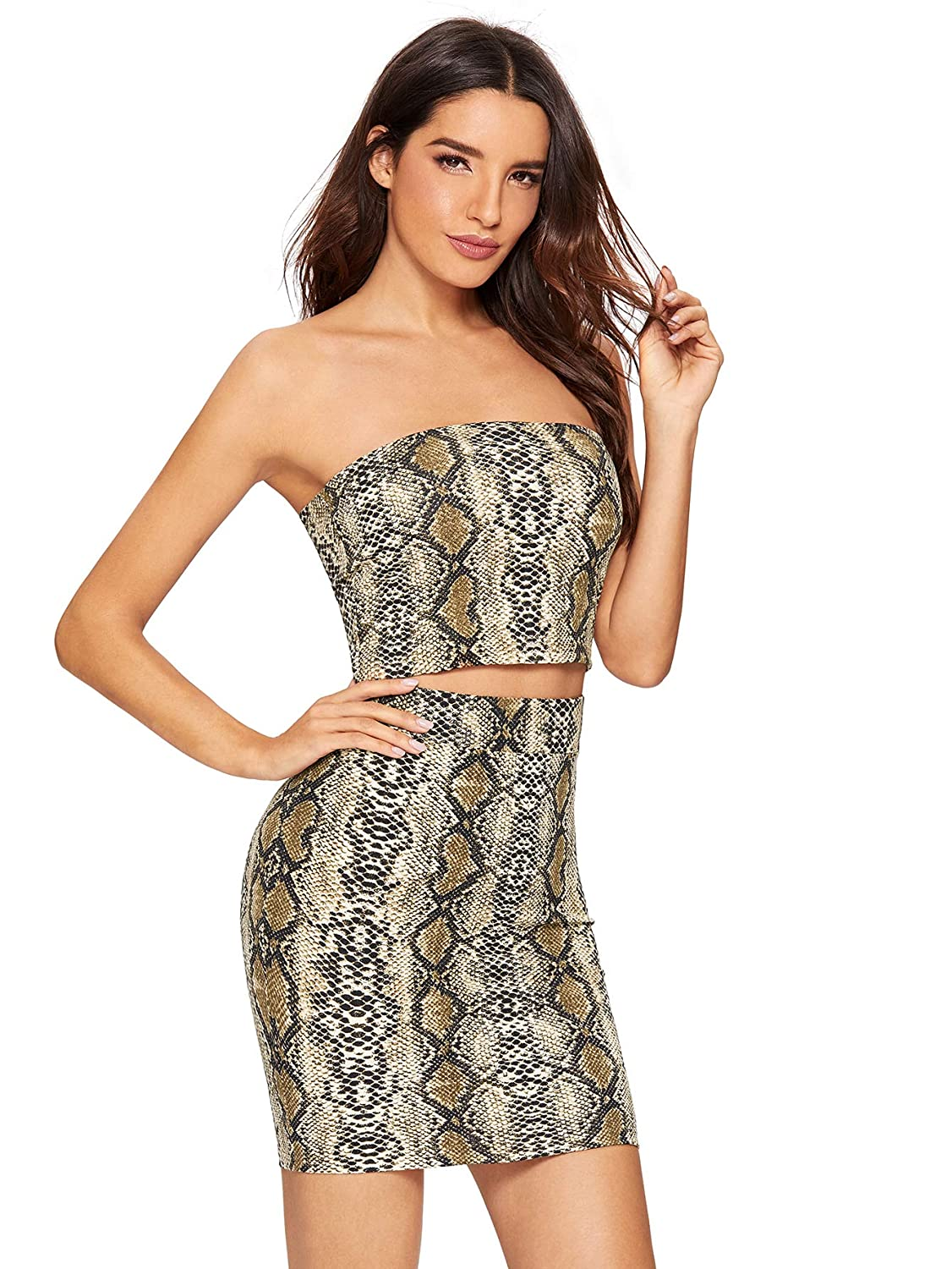 75fb7c71271c Floerns Women's Snake Print Sexy Bandeau Crop Top and Skirt Two Piece Set  at Amazon Women's Clothing store: