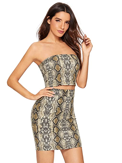 Floerns Women's Snake Print Sexy Bandeau Crop Top And Skirt Two Piece Set by Floerns