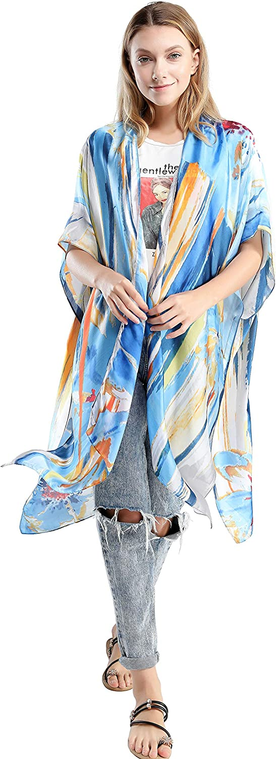 cardigan flowing jacket Painterly leggings tunic Draped kimono abstract design beach cover-up jacket colorful