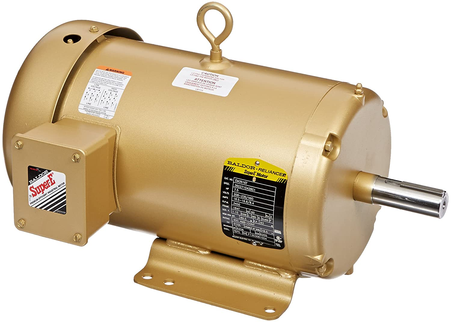 Baldor Em3616t General Purpose Ac Motor 3 Phase 184t Frame Tefc Motors Enclosure 7 1 2hp Output 3450rpm 60hz 208 230 460v Voltage Electronic Component