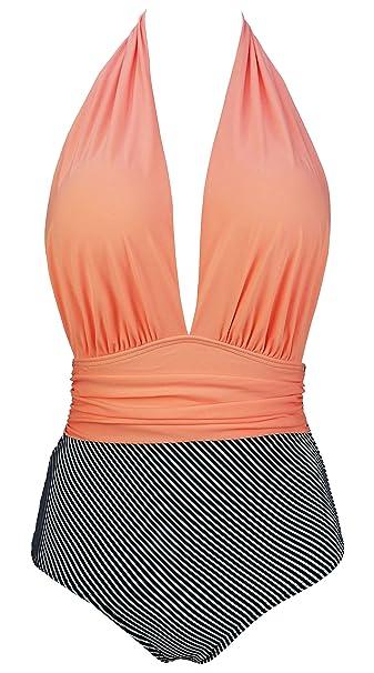 bf8f89892c9 COCOSHIP Orange Pink   Black Striped Retro One Piece Deep V Backless  Swimsuit Tiered High Waist