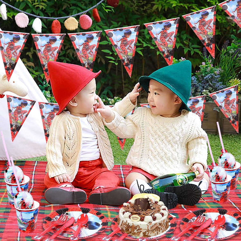 d/écoration de table bapt/ême de b/éb/é Yisscen Lot de 82 accessoires de f/ête pour fille Miraculous Ladybug barbecue Pour 10 enfants D/écoration pour anniversaire denfant