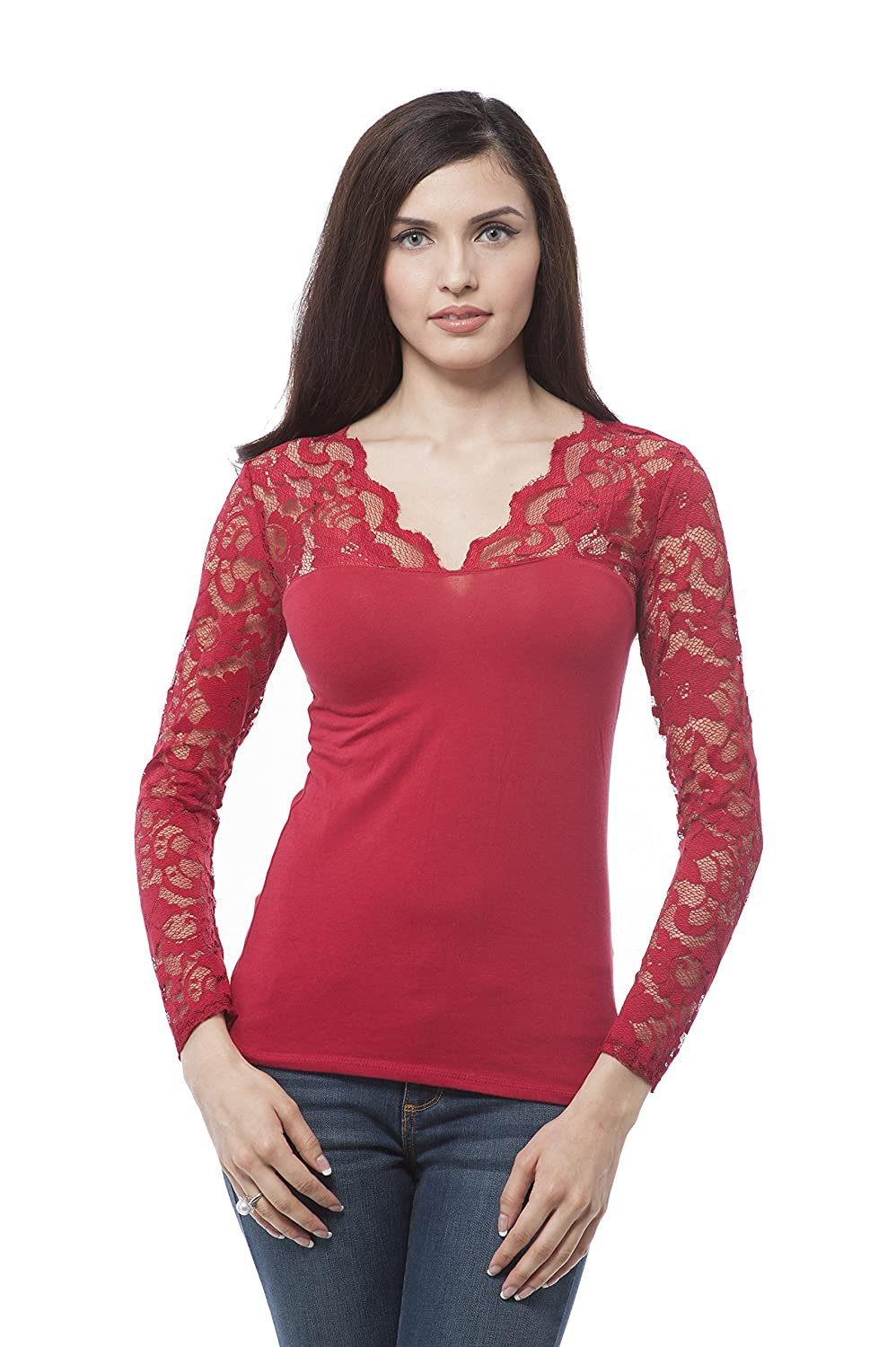 Hollywood Star Fashion Plus Size V Neck Long sleeve top with lace insert on sleeves Deep Red ) Khanomak 65641XL_Deep Red _1XL