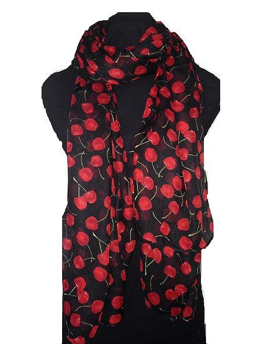 Noir avec cerise écharpe. Belle, écharpe. (Black cherry scarf Lovely soft  scarf 860dada3e2d