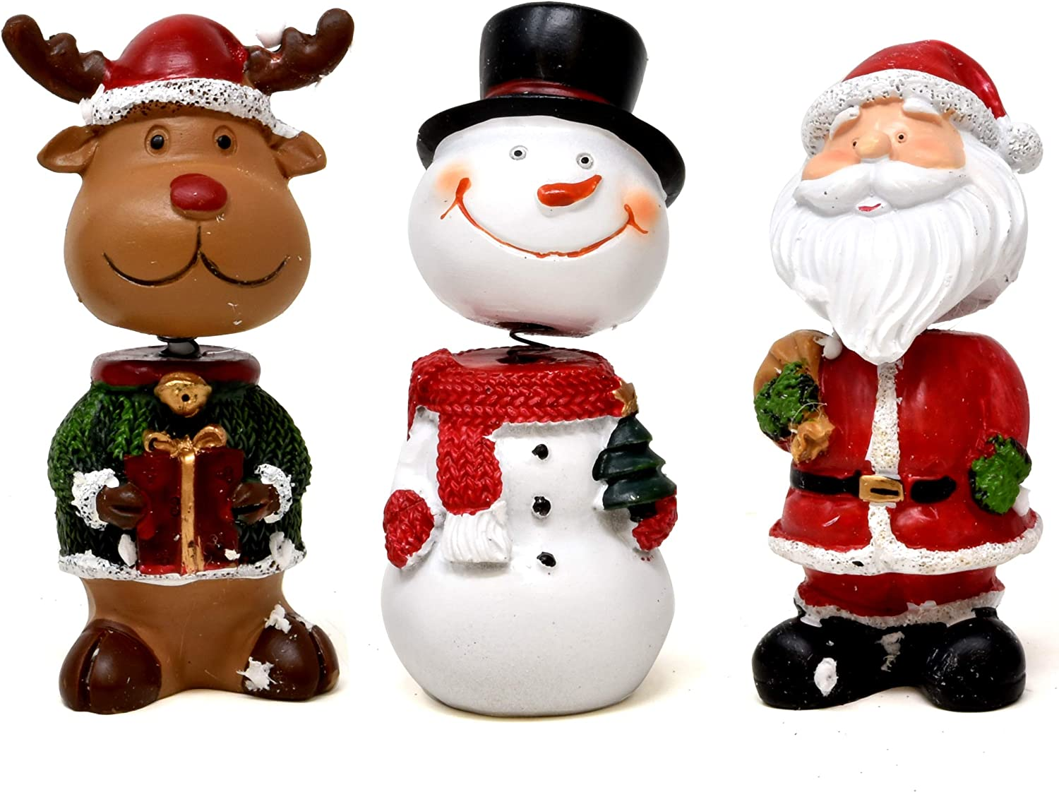 Gift Boutique 3 Christmas Bobble Head Table Topper Characters Snowman Santa Reindeer Figurines Decor Holiday Sculpture Table Top Decorative Centerpiece for Home Kitchen Office Desk Party Decorations