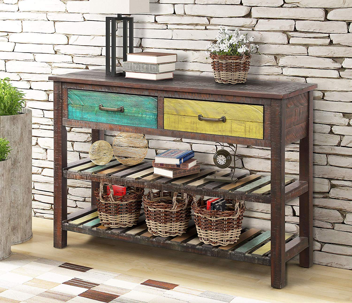 ALI VIRGO Retro Console Buffet Sideboard Sofa Table for Entryway Drawers Bottom Shelves Living Room Furniture Two Gap Tiers Shelf, Antique Grey