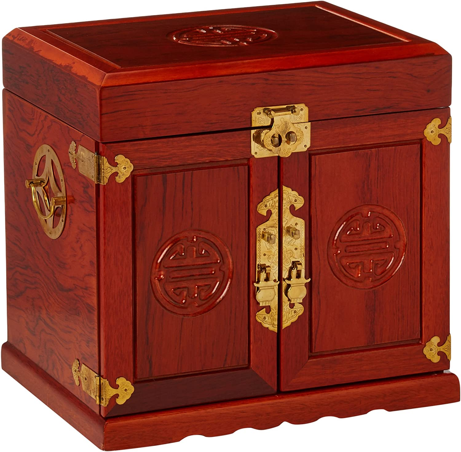 Oriental Furniture Rosewood Jewelry Cabinet with 5 Drawers - Honey