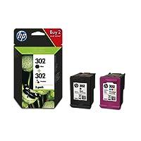 HP 302 Multipack Original Druckerpatronen (Schwarz, Farbe) für HP Deskjet, HP ENVY, HP Officejet