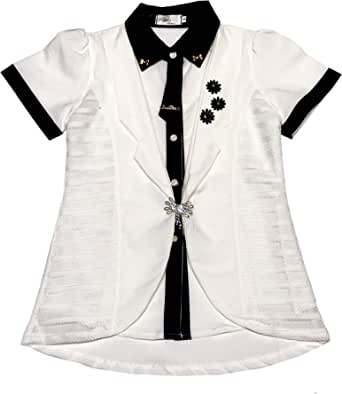 Stars Fashion Blue & White Shirt Neck Blouse For Girls