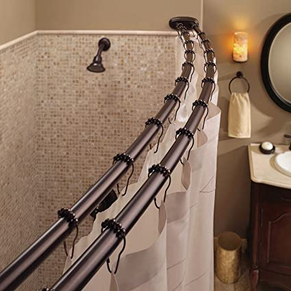 Amazon Com Double Curved Shower Curtain Rod Adjustable Crescent