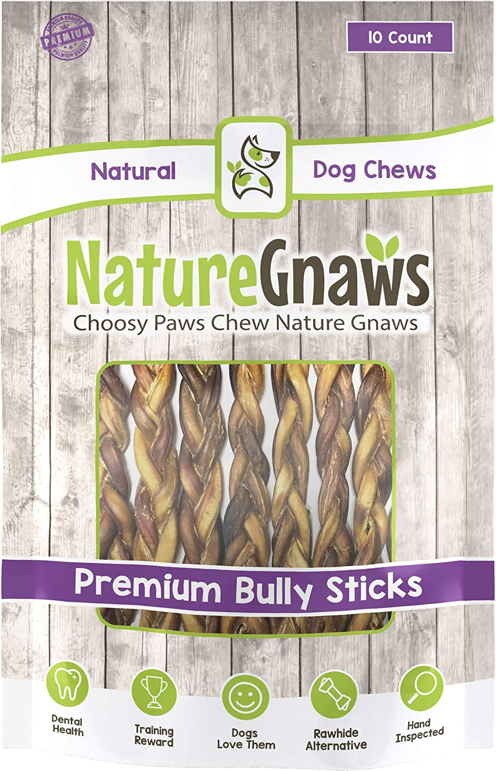 Nature Gnaws Braided Bully Sticks 11-12 inch – 100 Natural Beef Dog Chews