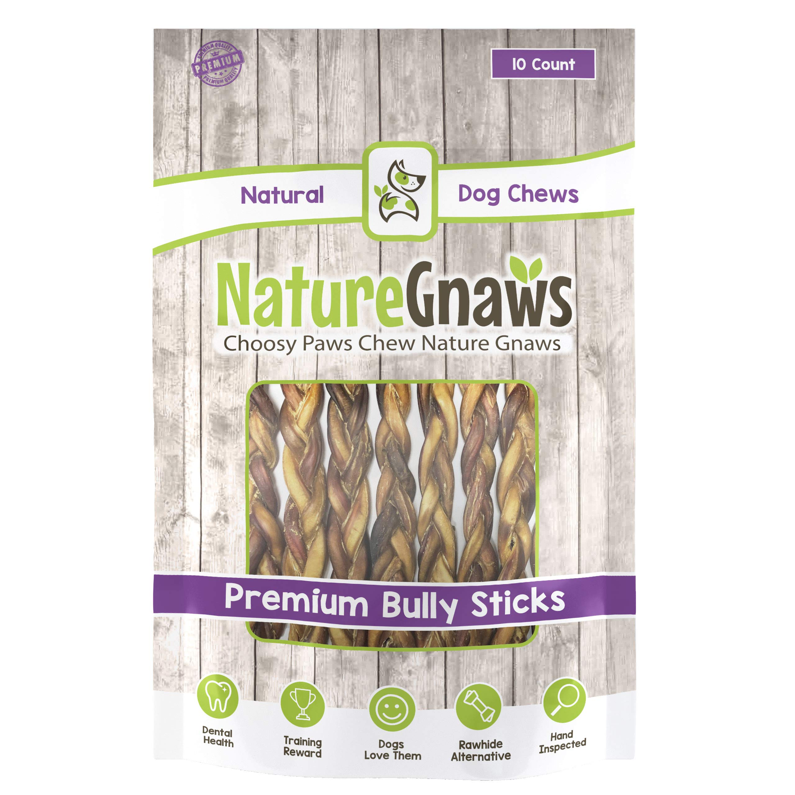 Nature Gnaws Braided Bully Sticks 11-12'' (10 Pack) - 100% Natural Grass-Fed Free-Range Premium Beef Dog Chews by Nature Gnaws