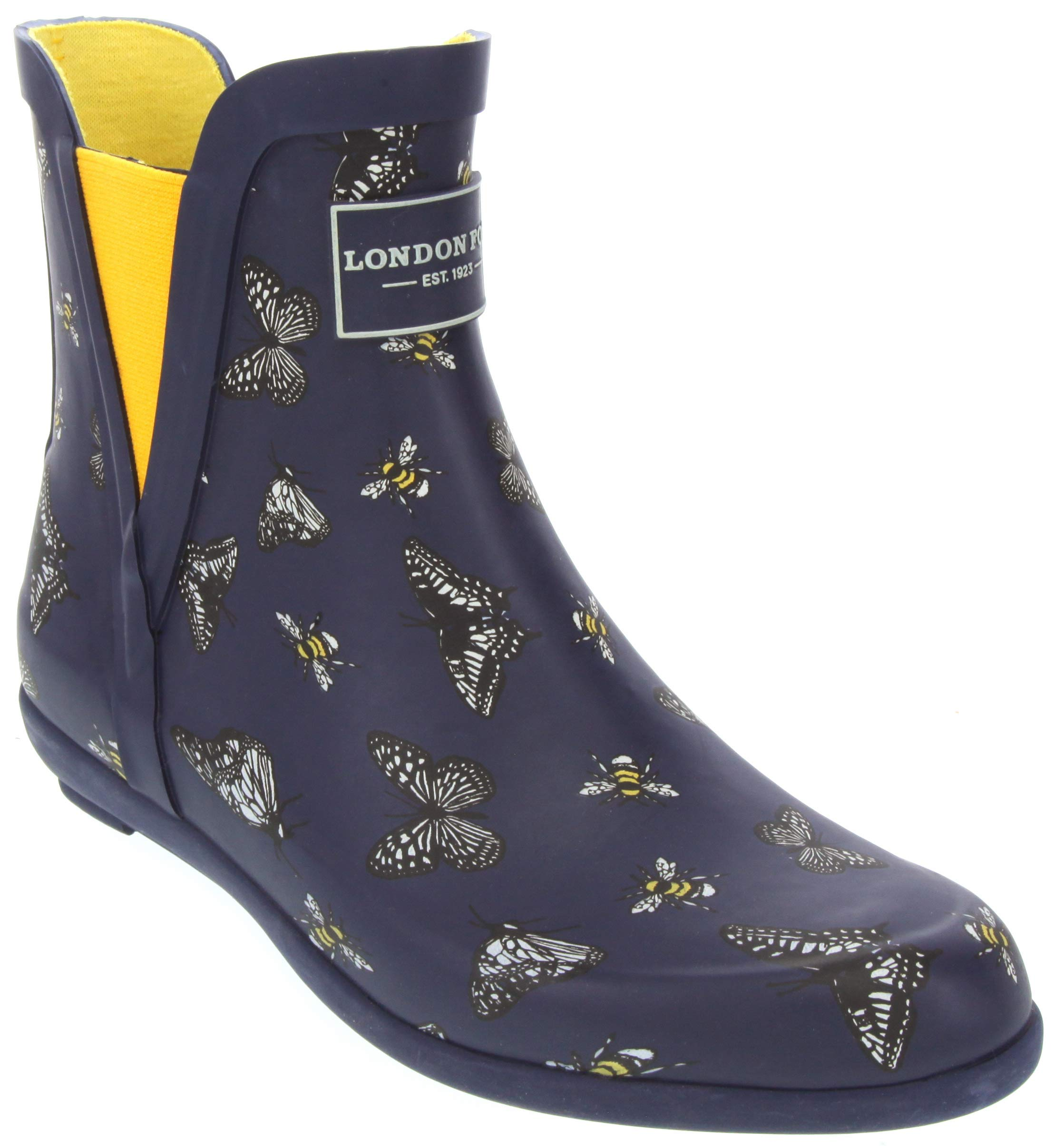 London Fog Womens Piccadilly Rain Boot Navy Meadow 9 M US