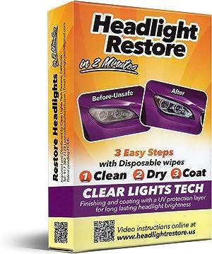 CLT Headlight Restoration Kit, Headlight Lens Cleaning Wipes