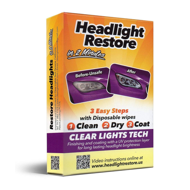 2 CLT Car Headlight Restoration Kit Headlight Restorer Wipes