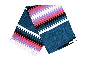 Open Road Goods Mexican Diamond Yoga Blanket, Blue or Turquoise Thick Serape with Pink or Purple Sunset Stripes - Handmade