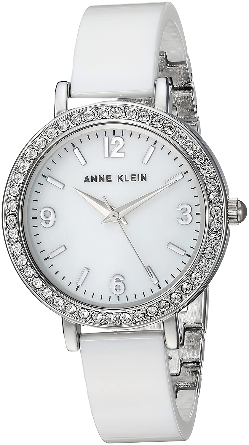 85d20d91c Amazon.com: Anne Klein Women's Swarovski Crystal Accented Silver-Tone and  White Ceramic Bangle Watch: Watches