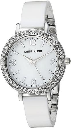 0b9b3d88c Anne Klein Women's Swarovski Crystal Accented Silver-Tone and White Ceramic  Bangle Watch