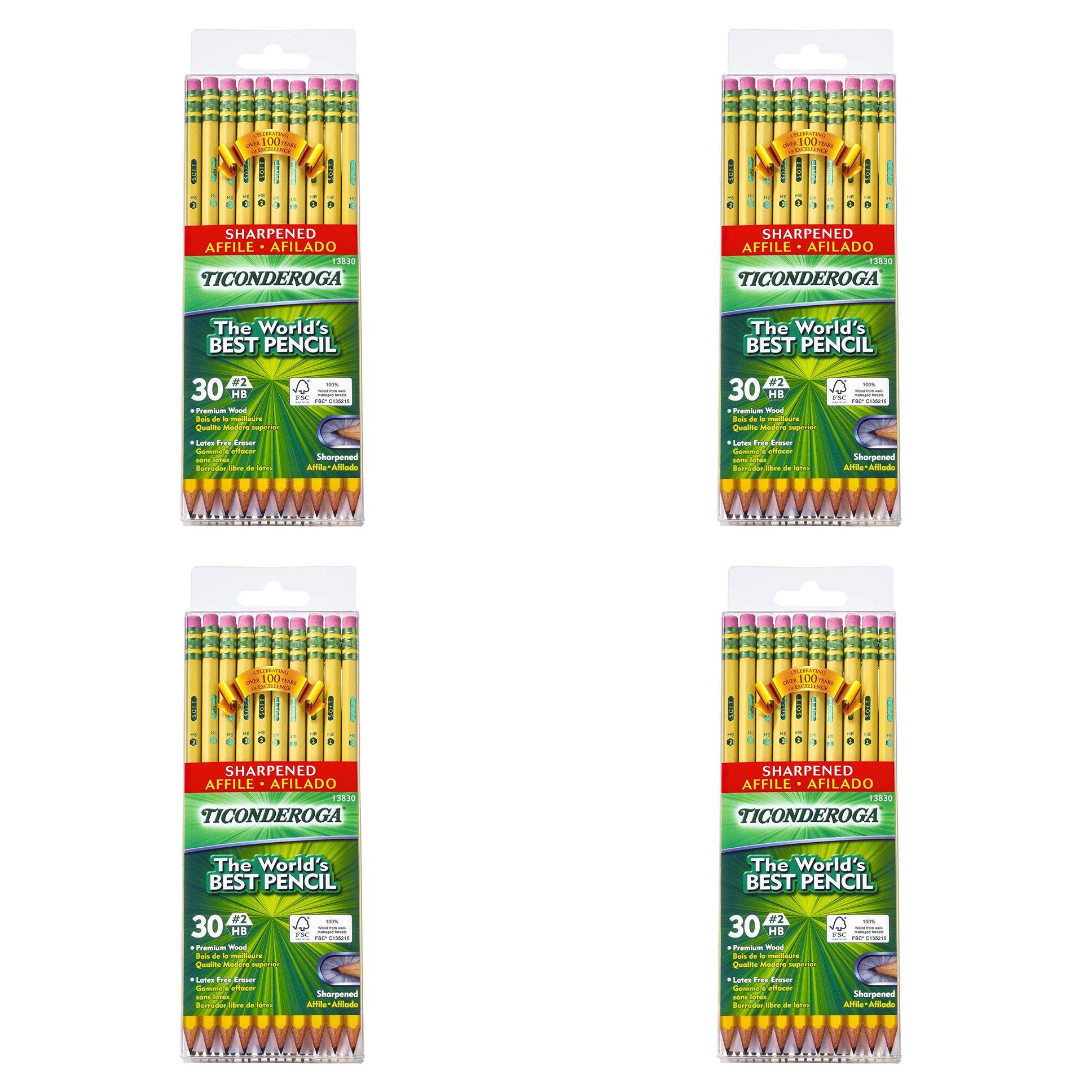 Ticonderoga Wood-Cased Graphite Pencils, 2 HB Soft, Pre-Sharpened, Yellow, (120 Pencils)