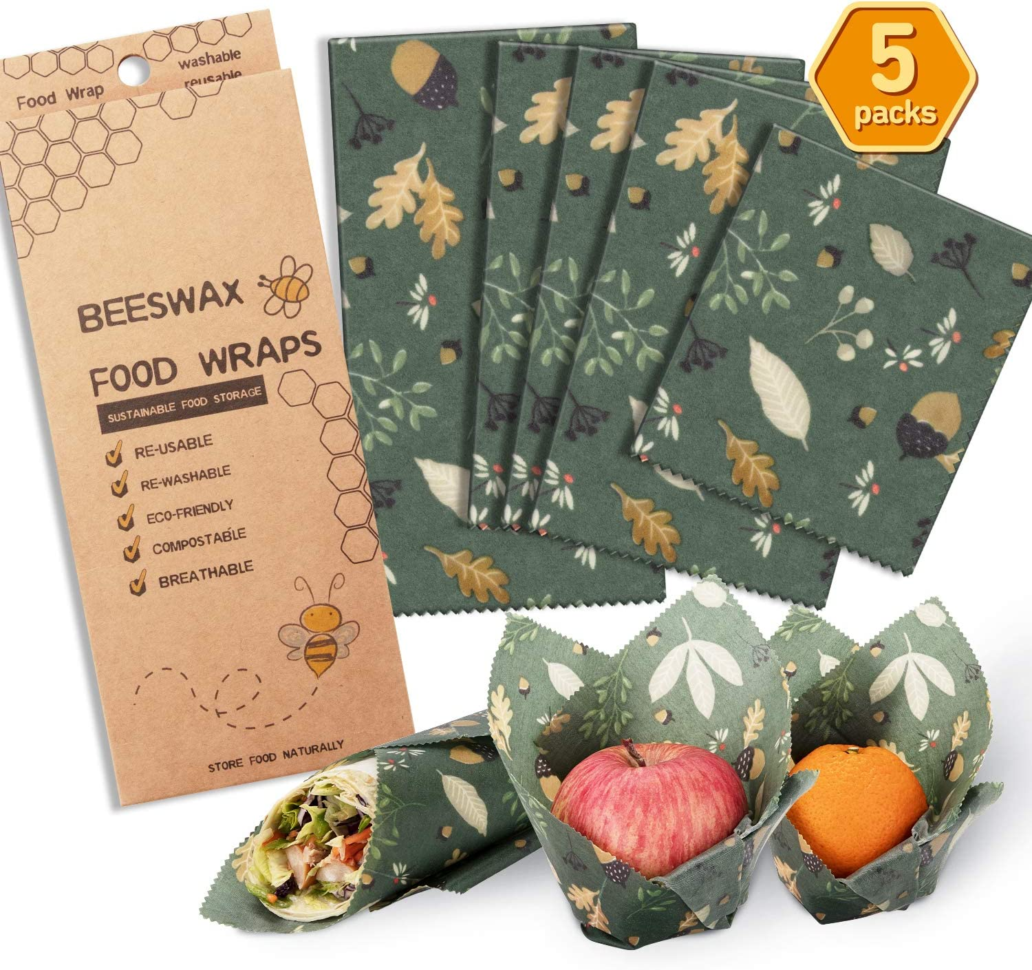 Beeswax Wrap Assorted 5 Packs, Eco Friendly Reusable Food Wraps, Biodegradable, Sustainable Plastic Free Food Storage- 1 Small, 3 Medium, 1 Large- Say Goodbye to Plastic(Green)